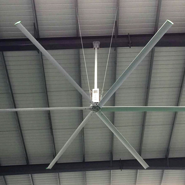 Quiet HVLS Big Industrial Ceiling Fans , 22ft Large Diameter Ceiling Fans